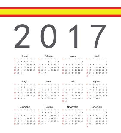 spainish: Square spainish 2017 year vector calendar. Week starts from Sunday.