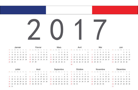 calendrier: Simple rectangular French 2017 year vector calendar. Week starts from Sunday. Illustration