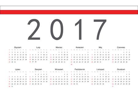 calendrier: Simple rectangular Polish 2017 year vector calendar. Week starts from Sunday. Illustration