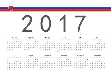 slovak: Simple rectangular Slovak 2017 year vector calendar. Week starts from Sunday.