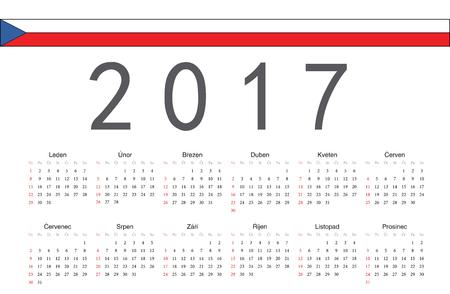 czech: Simple rectangular Czech 2017 year vector calendar. Week starts from Sunday. Illustration