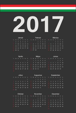 hungarian: Simple black Hungarian 2017 year vector calendar. Week starts from Sunday. Illustration