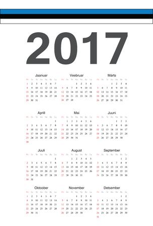 week: Simple Estonian 2017 year calendar. Week starts from Sunday.
