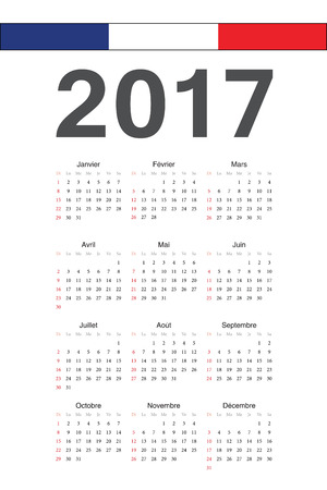 Simple French 2017 year calendar. Week starts from Sunday.