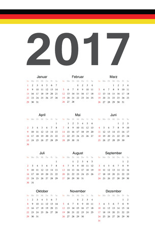 seasons of the year: Simple german 2017 year calendar. Week starts from Sunday