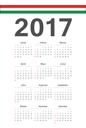 hungarian: Simple Hungarian 2017 year calendar. Week starts from Sunday