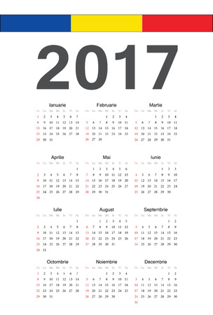 romanian: Simple Romanian 2017 year calendar. Week starts from Sunday.