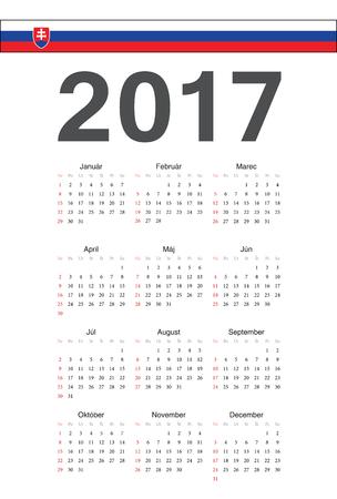 slovak: Simple Slovak 2017 year calendar. Week starts from Sunday.