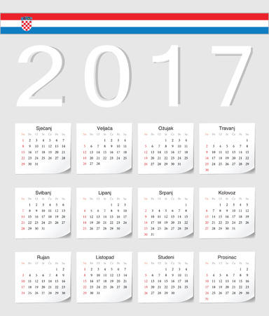 angles: Croatian 2017 calendar with shadow angles. Week starts from Sunday. Illustration
