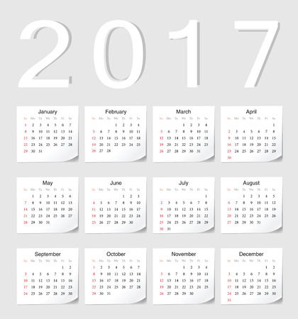 angles: European 2017 calendar with shadow angles. Week starts from Sunday. Illustration
