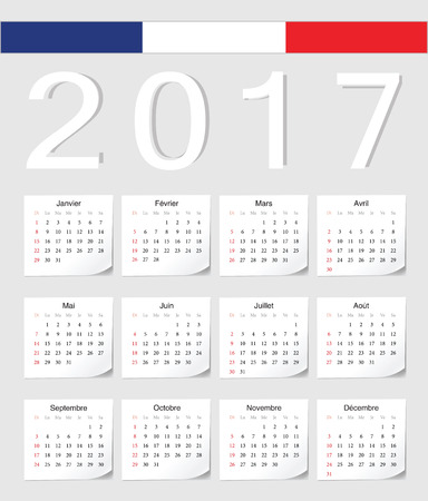 calendrier: French 2017 calendar with shadow angles. Week starts from Sunday.