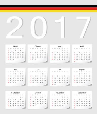 angles: German 2017 calendar with shadow angles. Week starts from Sunday. Illustration