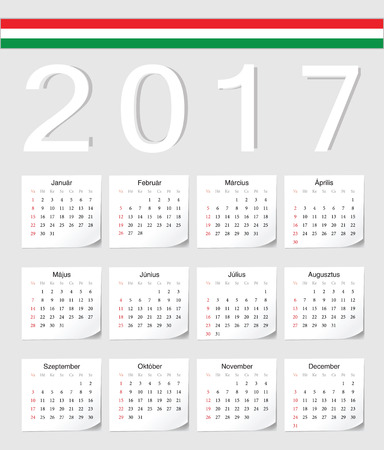 week: Hungarian 2017 calendar with shadow angles. Week starts from Sunday.