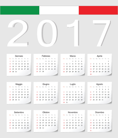 angles: Italian 2017 calendar with shadow angles. Week starts from Sunday. Illustration