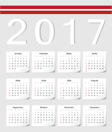 angles: Latvian 2017 calendar with shadow angles. Week starts from Sunday. Illustration