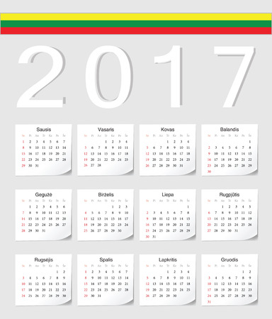 week: Lithuanian 2017 calendar with shadow angles. Week starts from Sunday.