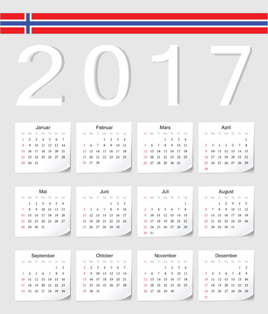 angles: Norwegian 2017 calendar with shadow angles. Week starts from Sunday.