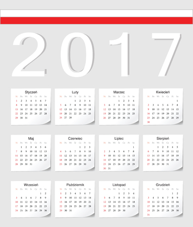 angles: Polish 2017 calendar with shadow angles. Week starts from Sunday.