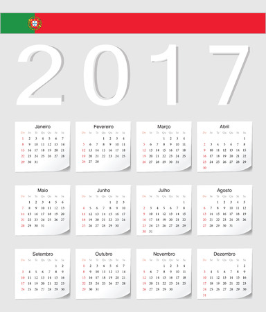 Portuguese 2017 calendar with shadow angles. Week starts from Sunday.