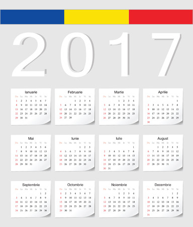starts: Romanian 2017 calendar with shadow angles. Week starts from Sunday.