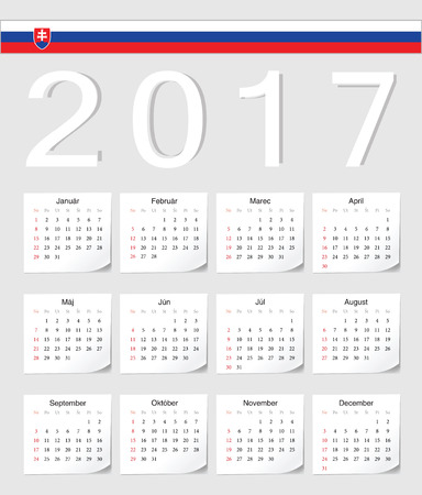 angles: Slovak 2017 calendar with shadow angles. Week starts from Sunday.