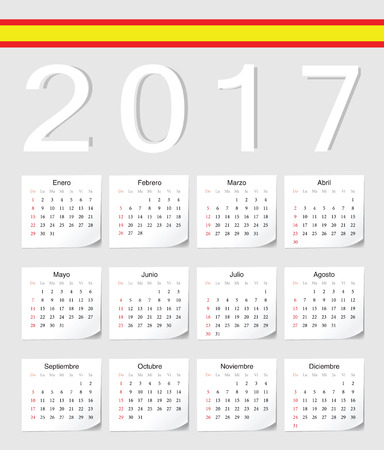 angles: Spanish 2017 calendar with shadow angles. Week starts from Sunday.