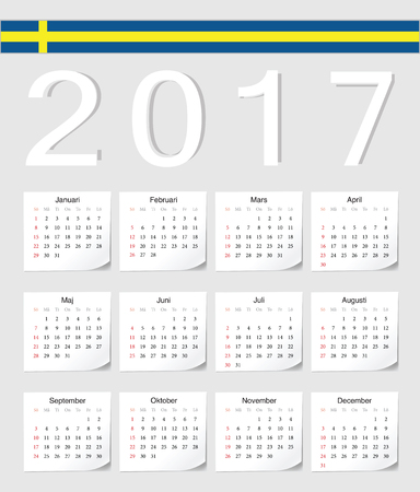 angles: Swedish 2017 calendar with shadow angles. Week starts from Sunday. Illustration