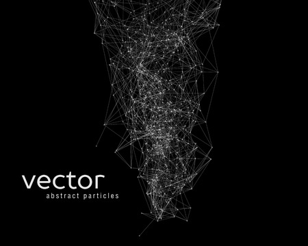 network connections: white abstract particles on black background