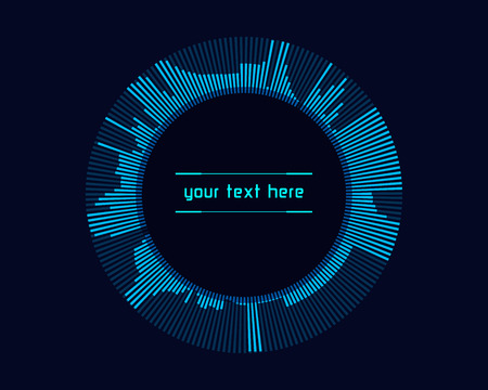touch technology: Abstract futuristic blue infographics as head-up display on dark background