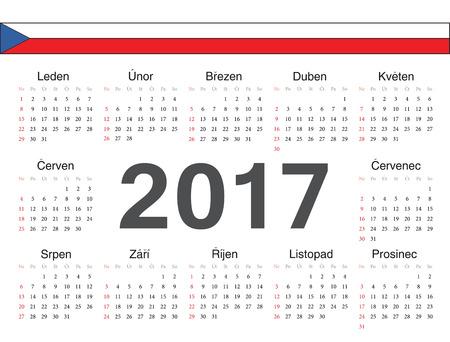 week: Vector Czech circle calendar 2017. Week starts from Sunday.