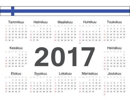 finnish: Vector Finnish circle calendar 2017. Week starts from Sunday. Illustration
