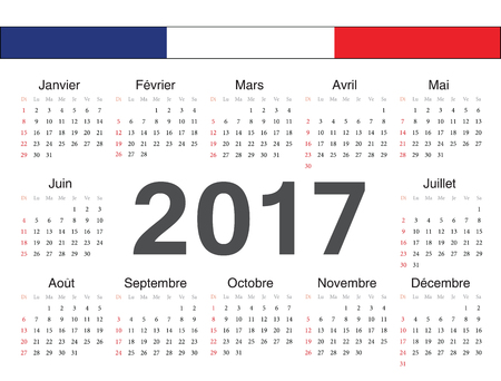 calendrier: Vector french circle calendar 2017. Week starts from Sunday. Illustration