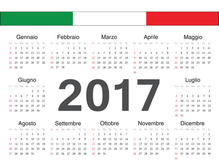 Vector Italian circle calendar 2017. Week starts from Monday.