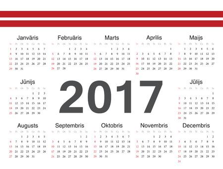 week: Vector Latvian circle calendar 2017. Week starts from Sunday.
