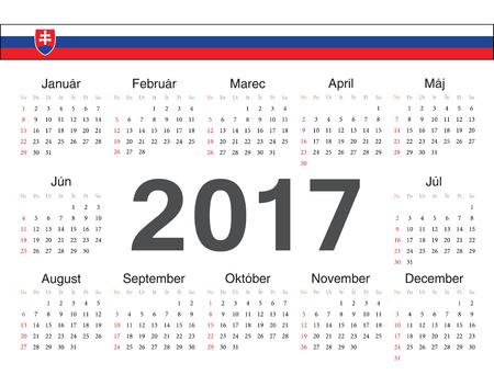 slovak: Vector Slovak circle calendar 2017. Week starts from Sunday. Illustration