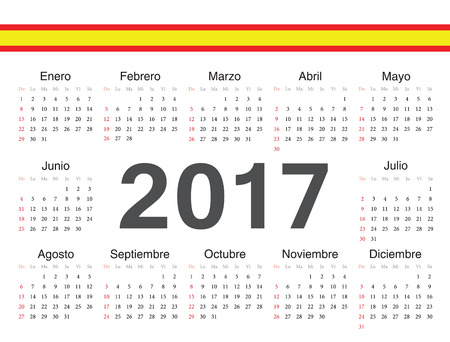 calendrier: Vector Spanish circle calendar 2017. Week starts from Sunday.