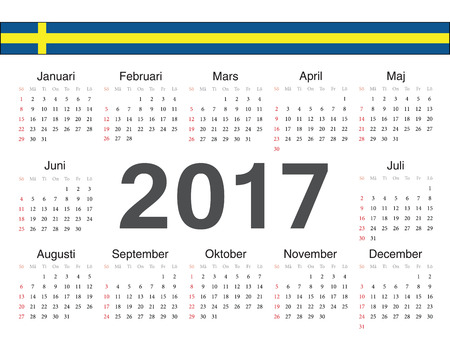 swedish: Vector Swedish circle calendar 2017. Week starts from Sunday. Illustration