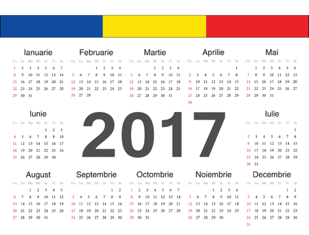 romanian: Vector Romanian circle calendar 2017. Week starts from Sunday.