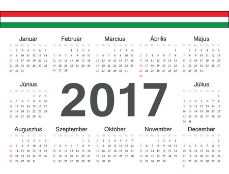 week: Vector Hungarian circle calendar 2017. Week starts from Sunday.