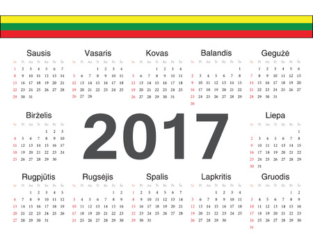 week: Vector Lithuanian circle calendar 2017. Week starts from Sunday. Illustration