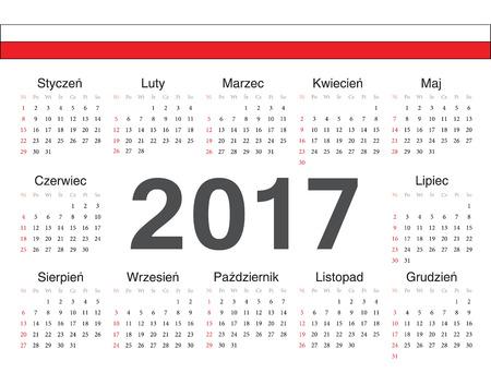 calendrier: Vector Polish circle calendar 2017. Week starts from Sunday.