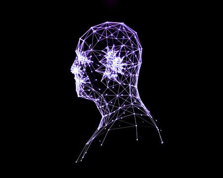 digital illustration: Abstract digital illustration of human head. Side view.