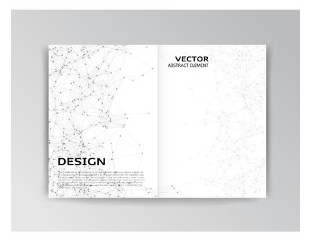 both sides: Vector horizontal white template of brochure with abstract elements on both sides