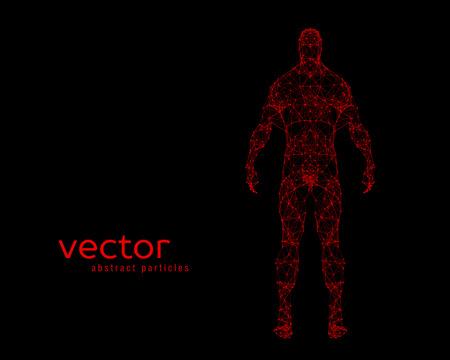 stranger: Abstract vector illustration of human body on black background Illustration