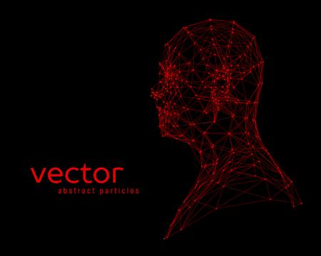 stranger: Abstract vector illustration of human head on black background