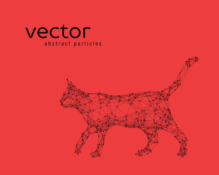 catlike: Abstract vector illustration of cat on red background