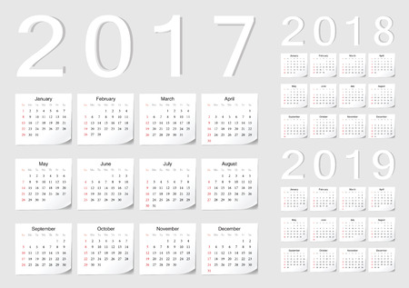 almanac: Set of European 2017, 2018, 2019 vector calendars with shadow angles. Week starts from Sunday. Illustration