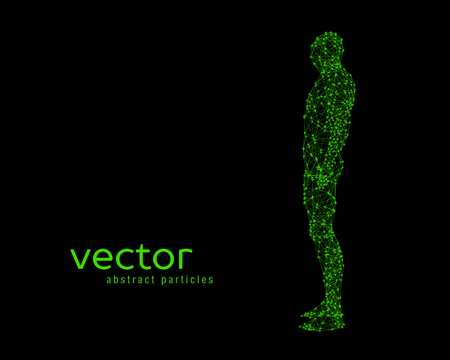 Abstract vector illustration of human body on black background. Side view.
