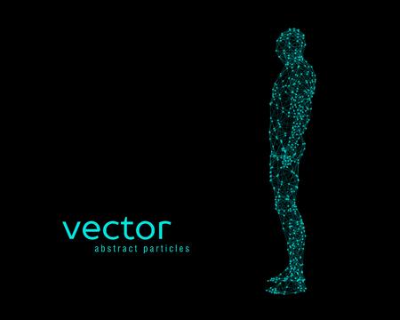 Resumen ilustración vectorial de cuerpo humano en fondo negro. Vista lateral.
