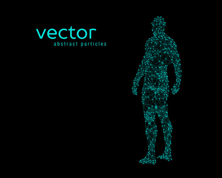 Abstract illustrazione vettoriale di corpo umano su sfondo nero. Vettoriali